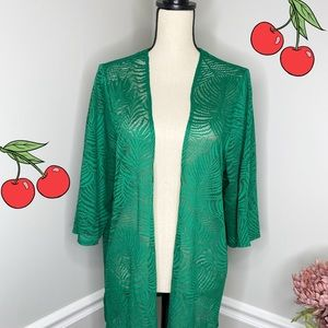Catherines Woman's Green Lace Cardigan
